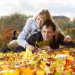 Young beautiful couple is laying — Stock Photo #18085419