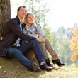 Stock Photo: Young loving couple sitting on ground by tree