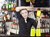 Professional barmen making cocktail — Stock Photo