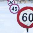Speed limit signs under the snow — Stock Photo