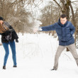 The young family plays winter wood on snow — Stock Photo