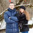 Stock Photo: Happy Young Couple in Winter garden