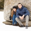 Happy Young Couple in Winter mountains — Stock Photo