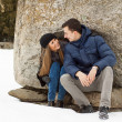 Happy Young Couple in Winter mountains - Stock Photo