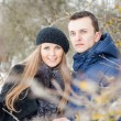 Happy Young Couple in Winter garden — Stock Photo #22302765