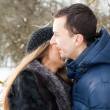 Happy Young Couple in Winter garden — Stock Photo #22305867
