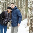 Happy Young Couple in Winter — Stock Photo
