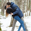 Happy Young Couple in Winter — Foto Stock