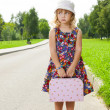 Girl with suitcase standing on road — Stock Photo