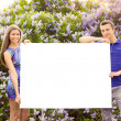 Young couple holding blank poster — Foto de Stock