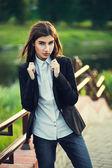 Beautiful young brunette girl — Stock Photo