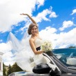 Beautiful young happy bride — Stockfoto