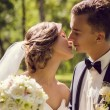 Young bride and groom kissing — Stock Photo #29621539
