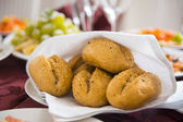 Fresh homemade bread rolls with sesam seeds — Stock Photo