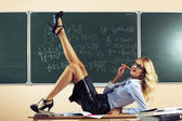 Beautiful young sexy teacher — Stock Photo
