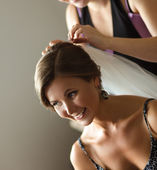 Bride getting ready for the wedding — Stock Photo