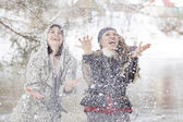 Young women funny laughing — Stock Photo