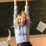 Young pretty teacher screaming — Stock Photo