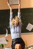 Young pretty teacher screaming — Stock Photo