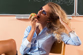 Linda jovem professor sexy — Foto Stock