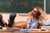 Beautiful young sexy teacher — Stock Photo