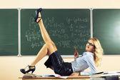 Beautiful young sexy teacher — Stockfoto