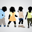 Four children silhouettes — Image vectorielle