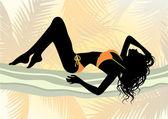 Girl in bikini on the beach — Stock Vector
