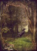 Raven in forest — Stock Photo