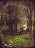 Raven v lese — Stock fotografie