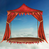 Bright Stage With Red Theater Curtains and blue Sky Background — Foto de Stock