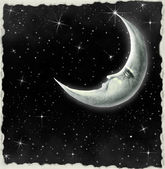Llustration of a night sky with fantastic moon — Stock Photo