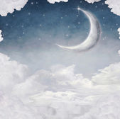 Moon and Star at Night Illustration — Stock Photo
