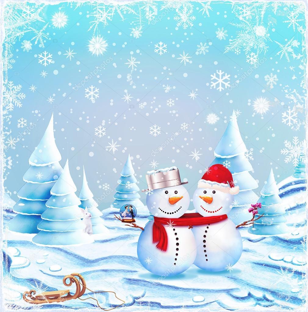 Snowman couple clipart - ClipartFest