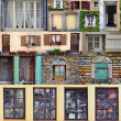 Windows-Collage aus Frankreich — Stockfoto
