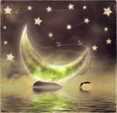 Illustration of orca on a starry night background with moon — Stock Photo