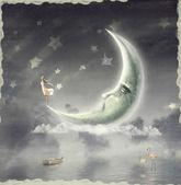 L'illustrazione mostra la ragazza che ammira il cielo di stella — Foto Stock