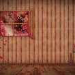Vintage interior with floral wallpaper  ,open window and roses - Stock Photo