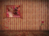 Vintage interior with floral wallpaper ,open window and roses — Stock Photo