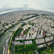 Bird's eye view of the city of Paris ,France , photographed from the eiffel tower — Stock Photo