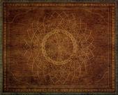 Pattern of mandala carved on wood — Stock Photo