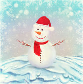 Illustration of snowman, on a background of snow and snowflakes — Stock Photo