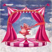 Ilustración de un circo con un hipopótamo de dibujos animados en un tutú de baile — Foto de Stock