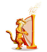 Tiger plays a harp — Stock Photo