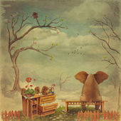 Elephant on a bench in the sky — Stock Photo