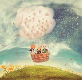 Children in a balloon on a glade — Stockfoto