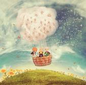 Děti v balónu na na mýtině — Stock fotografie