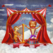 Сircus with tent, a tiger playing on a harp and singing a lion — Zdjęcie stockowe