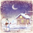 Stock Photo: Illustration of winter landscape with snowman