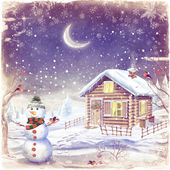 Illustration of winter landscape with snowman — Stock Photo